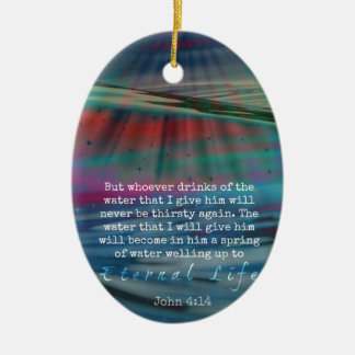 John 4:14 Water and Sky Ceramic Oval Decoration