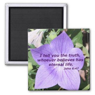 John 6:47 square magnet