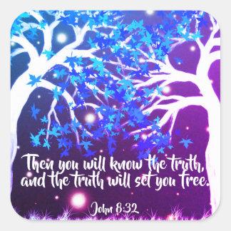 John 8:32 Christian Bible Scripture Stickers