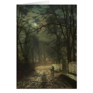 John Atkinson Grimshaw- A moonlit lane Card
