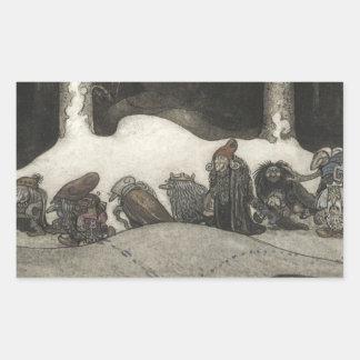 John Bauer - In the Christmas Night Rectangular Sticker