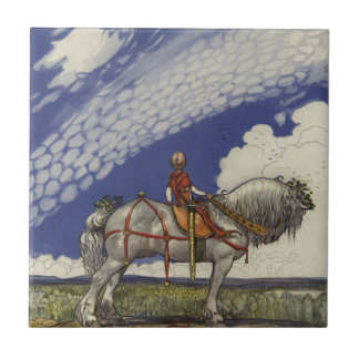 "John Bauer - ""Into the Wide World"" Small Square Tile"