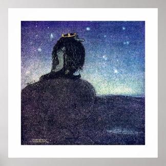 John Bauer King of Troll Mountain in Blue Poster