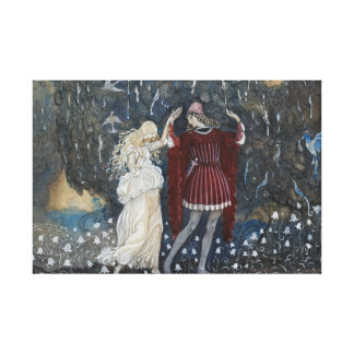 John Bauer - Lena Dances with the Knight Canvas Print
