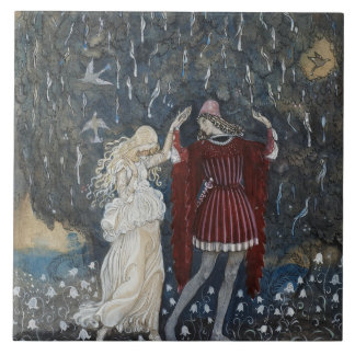 John Bauer - Lena Dances with the Knight Ceramic Tile