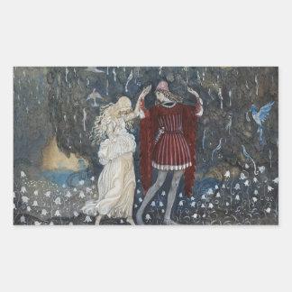 John Bauer - Lena Dances with the Knight Rectangular Sticker