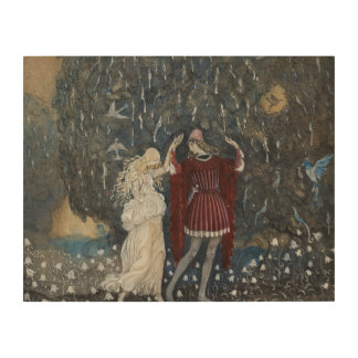 John Bauer - Lena Dances with the Knight Wood Print