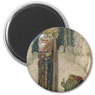 John Bauer - Princess and Troll 6 Cm Round Magnet