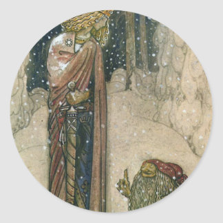 John Bauer - Princess and Troll Round Sticker