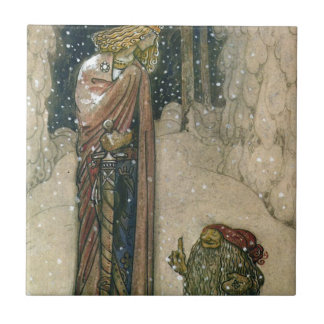 John Bauer - Princess and Troll Small Square Tile