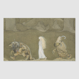 John Bauer - The Princess and the Trolls Rectangular Sticker