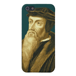 John Calvin iPhone4 Case in Sola Scriptura Cyan