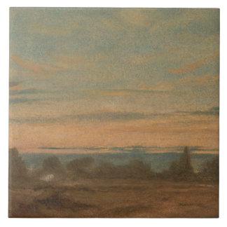 John Constable - Summer - Evening Landscape Large Square Tile