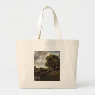 John Constable - The Lock - Countryside Landscape Large Tote Bag