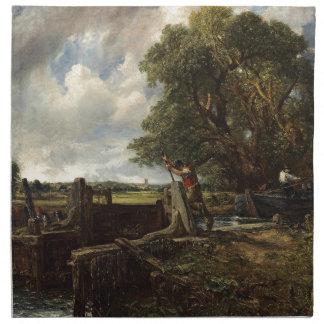 John Constable - The Lock - Countryside Landscape Napkin