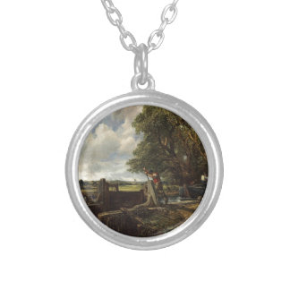 John Constable - The Lock - Countryside Landscape Silver Plated Necklace