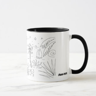 John Dyer Black & White Cornish Art Mug