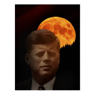 John F. Kennedy and the red Moon Postcard