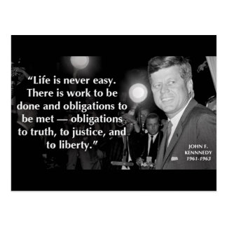 John F Kennedy Motivational Life Quotes Postcard