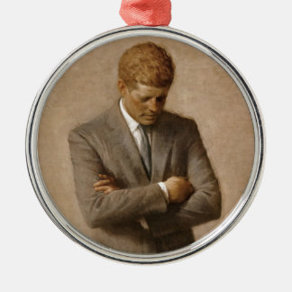John F. Kennedy Official White House Portrait Silver-Colored Round Decoration