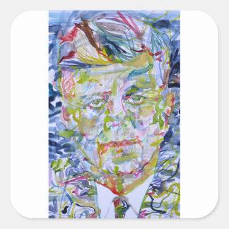 john fitzgerald kennedy - watercolor portrait.1 square sticker