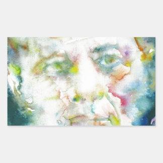 john fitzgerald kennedy - watercolor portrait.2 rectangular sticker