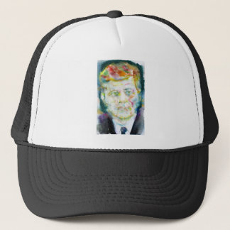 john fitzgerald kennedy - watercolor portrait.2 trucker hat
