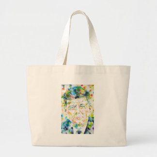 john fitzgerald kennedy - watercolor portrait.3 large tote bag