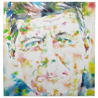 john fitzgerald kennedy - watercolor portrait.3 napkin