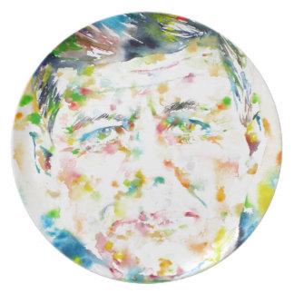 john fitzgerald kennedy - watercolor portrait.3 plate