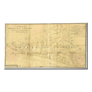 John Hills Map of Monmouth County New Jersey 1781 Photo Print