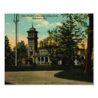 John Hopkin's Mansion, Baltimore, Maryland Vintage Poster