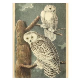 John James Audubon Snowy Owl Bird Illustration Art Tablecloth