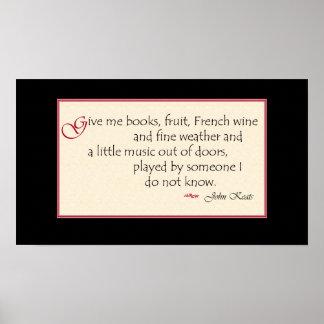 John Keats book quote poster
