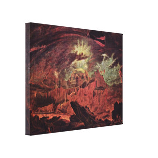 John Martin - Fallen angels in Hell Stretched Canvas Prints