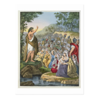 John Preaching in the Wilderness, from a bible pri Postcard