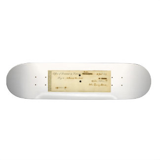 John Quincy Adams ORIGINAL Signed Check 21.6 Cm Old School Skateboard Deck
