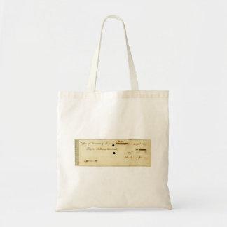 John Quincy Adams ORIGINAL Signed Check Tote Bags