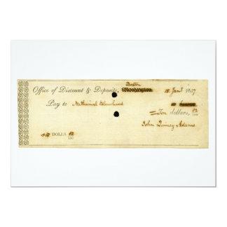 "John Quincy Adams ORIGINAL Signed Check 5"" X 7"" Invitation Card"