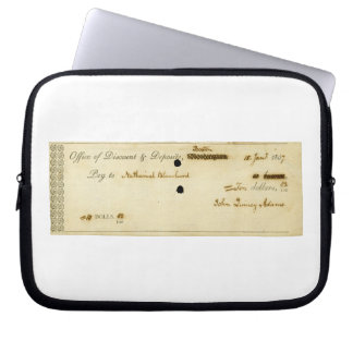 John Quincy Adams ORIGINAL Signed Check Laptop Computer Sleeves