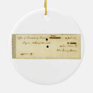 John Quincy Adams ORIGINAL Signed Check Round Ceramic Decoration