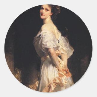 John Singer Sargent - Nancy Astor - Fine Art Classic Round Sticker