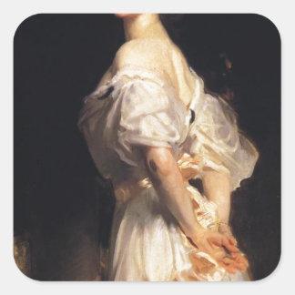 John Singer Sargent - Nancy Astor - Fine Art Square Sticker