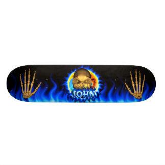 John skull blue fire Skatersollie skateboard
