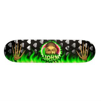 John skull green fire Skatersollie skateboard