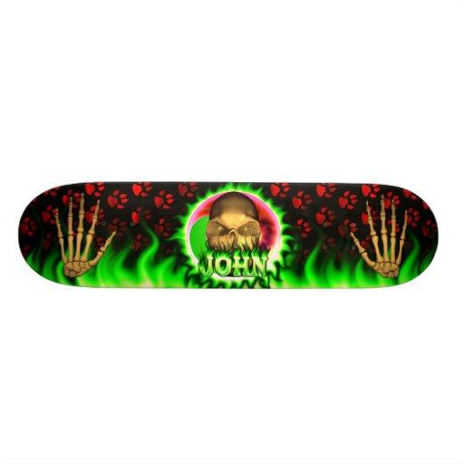 John skull green fire Skatersollie skateboard.