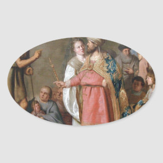 John the Baptist Preaching Oval Sticker