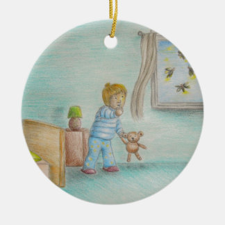 Johnny and fireflies ceramic ornament