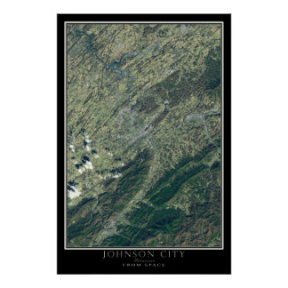 Johnson City Tennessee From Space Satellite Map Poster