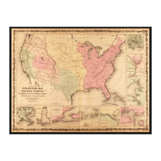 Johnson's Illustrated Military U.S. Map (1862) Stretched Canvas Print